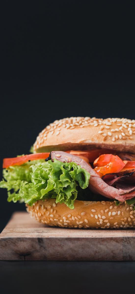 汉堡 夹层 培根 蔬菜
