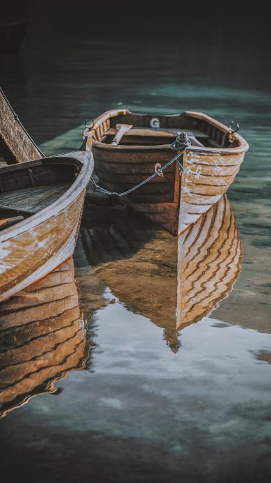 湖泊 小木船 船只 休闲