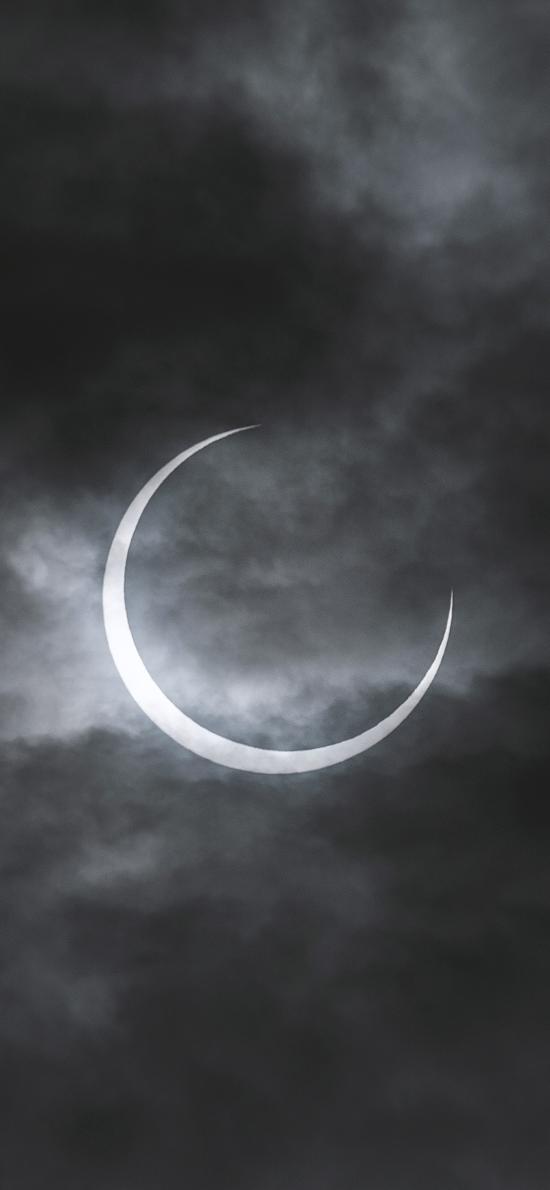 夜晚 月球 月食 云朵 钩月