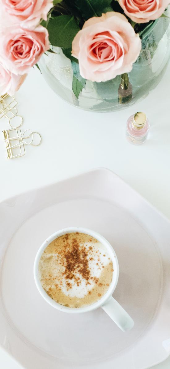 饮品 咖啡 托盘 鲜花