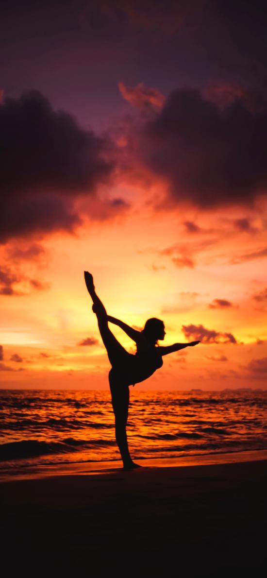 海滩 夕阳美景 女孩 舞者 舞姿