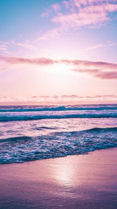 大海 夕阳 海浪 唯美 渐变