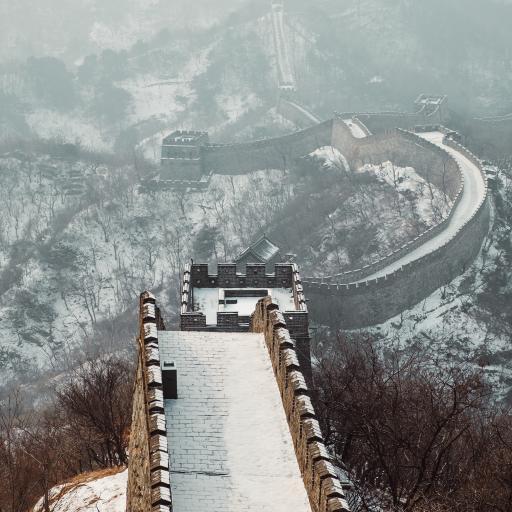 中国 地标 万里长城 下雪 霜降
