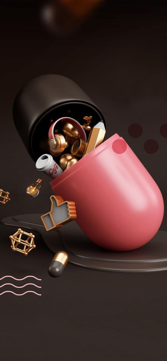 胶囊 3D 耳机 可乐 迷你