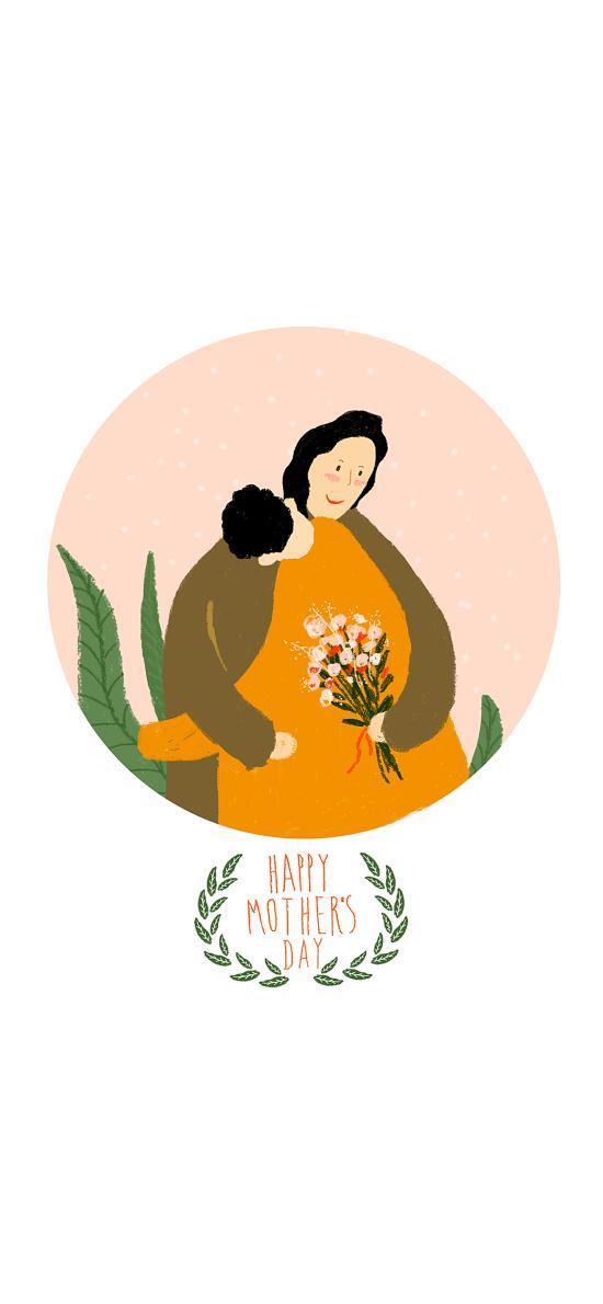 母亲节 母爱 插画 拥抱