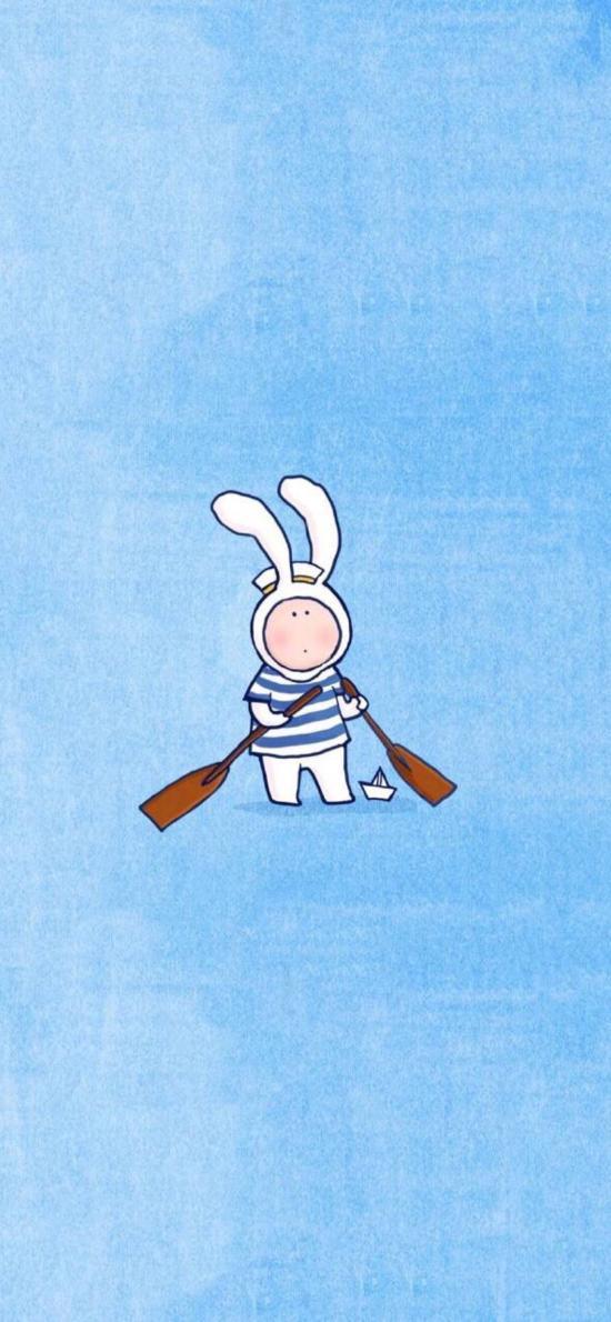 渐变 蓝色背景 卡通 兔子 船桨