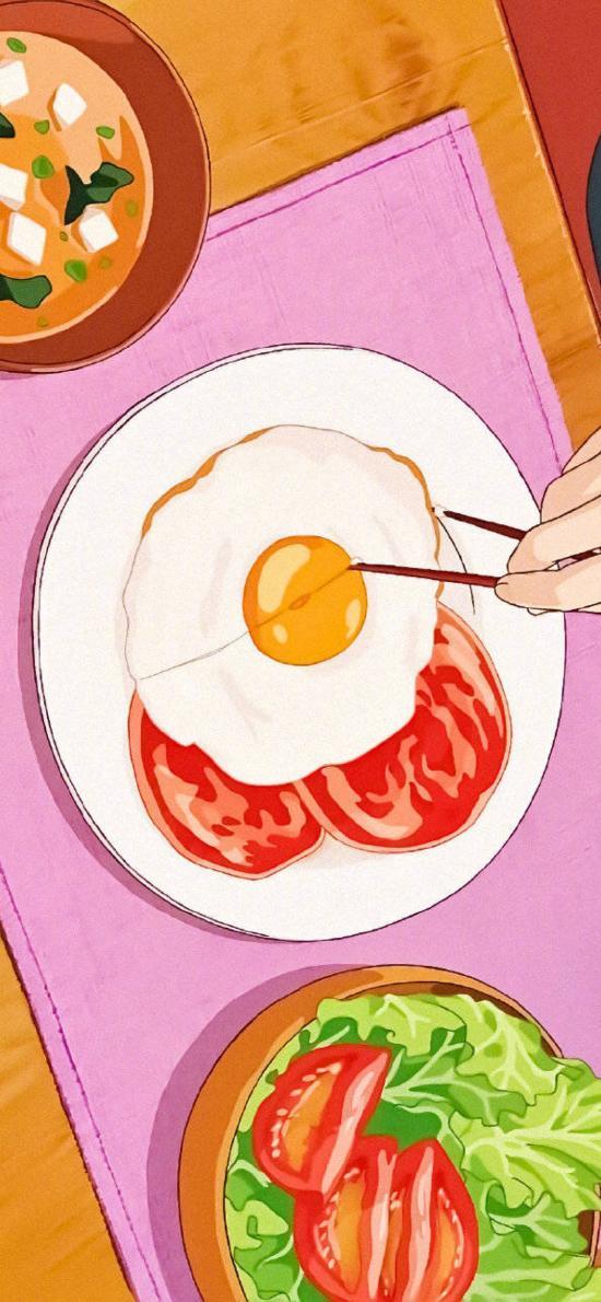 日系 插图 煎蛋 美食