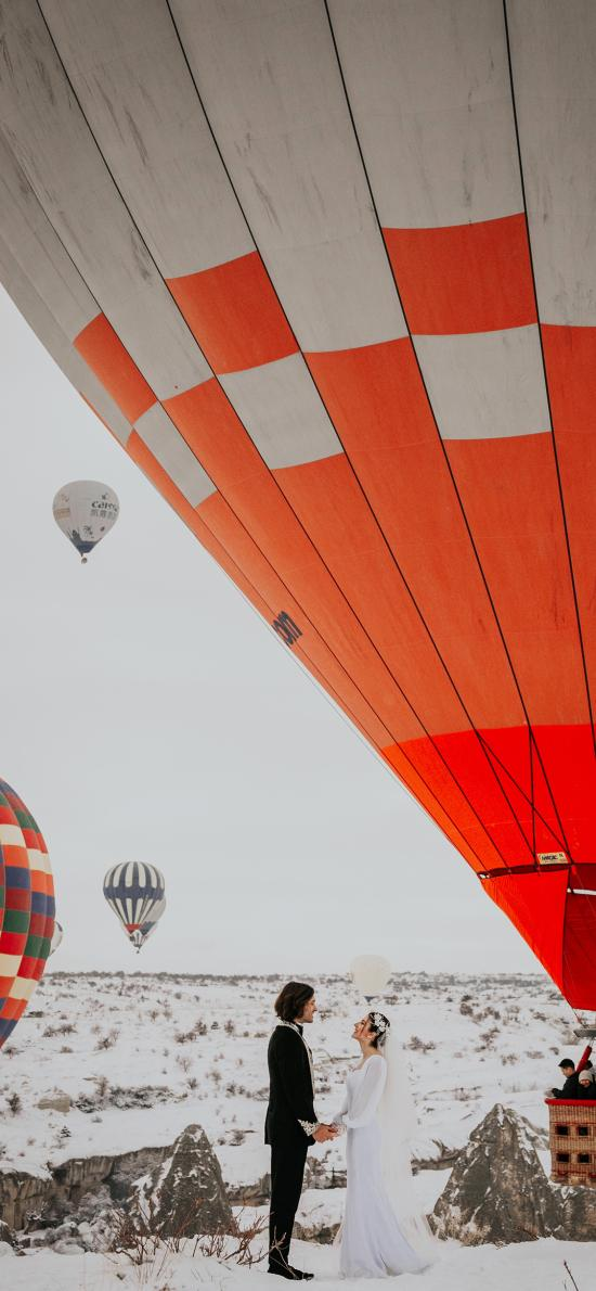 欧美 情侣 结婚 热气球 浪漫