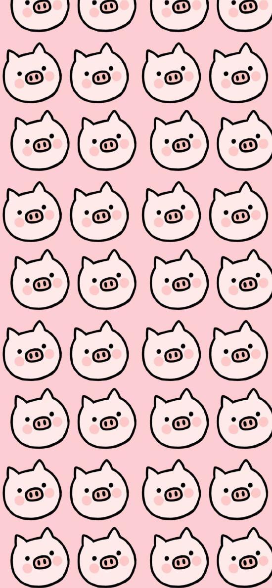 猪 粉色 卡通 排列 平铺