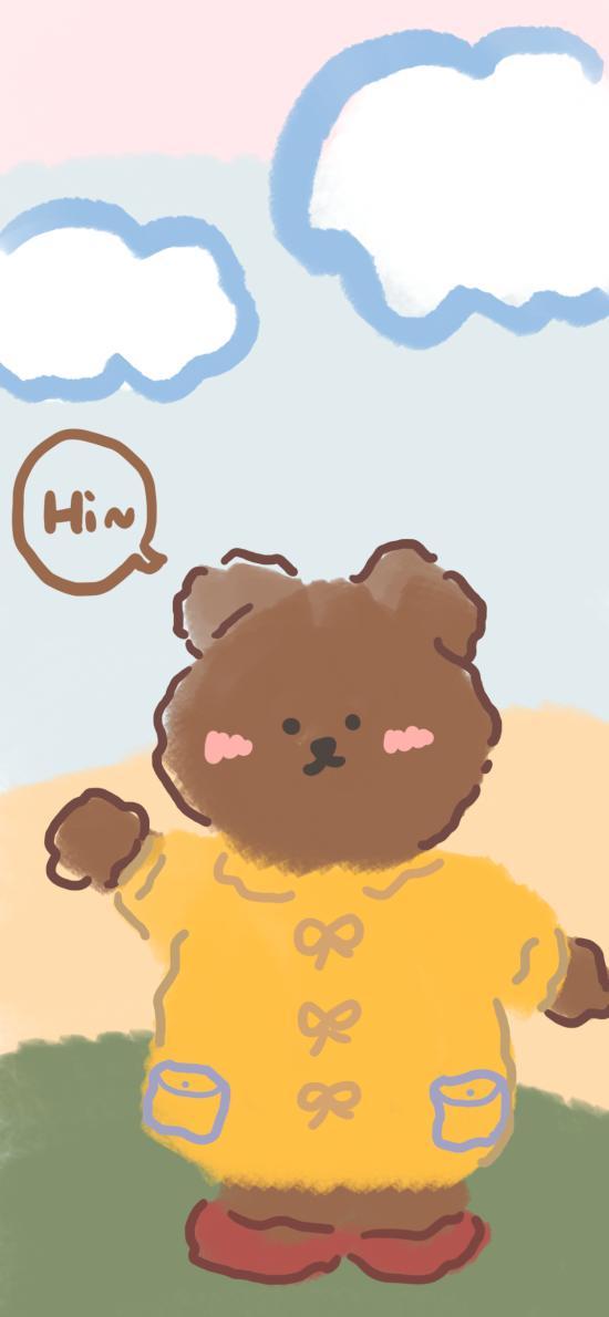 可爱 插画 熊 hi