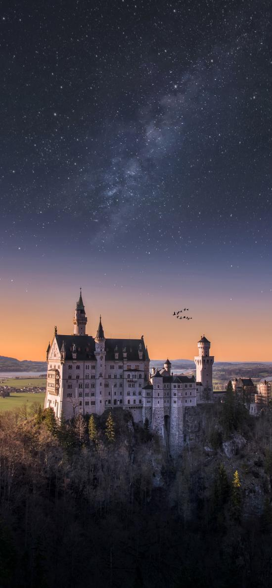 城堡 建筑 山顶 星空 唯美 夜晚