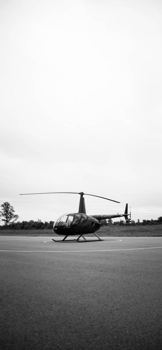 直升机 飞机 黑白 航空 机场