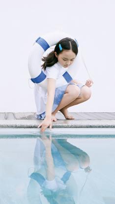 刘楚恬 小葡萄 小女孩 儿童 泳圈