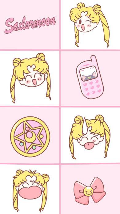 美少女战士 粉色 手机 蝴蝶结 动画
