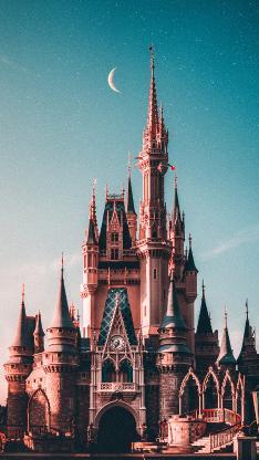城堡 迪士尼乐园 星空 月亮 游玩