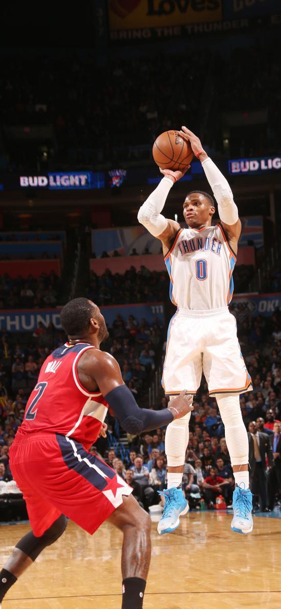 威少 篮球 运动员 投篮 球场 NBA