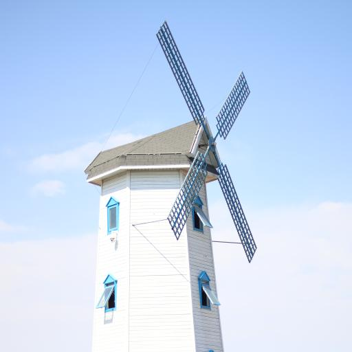 风车 小房子 蓝色 建筑