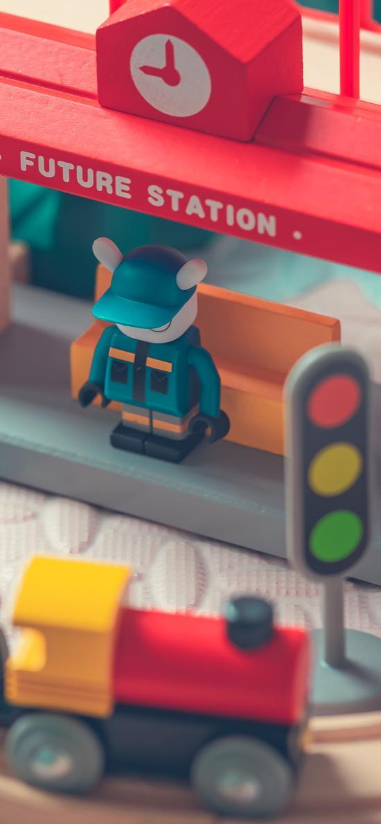 玩具 模型 火车 红绿灯