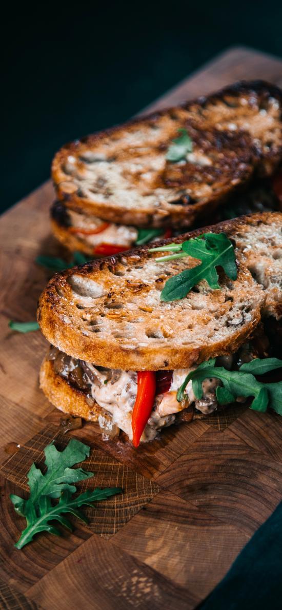 烘焙 点心 面包片 夹心 青菜