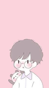 男孩 情侣 卡通 可爱 粉