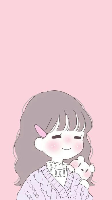 女孩 情侣 卡通 可爱 粉