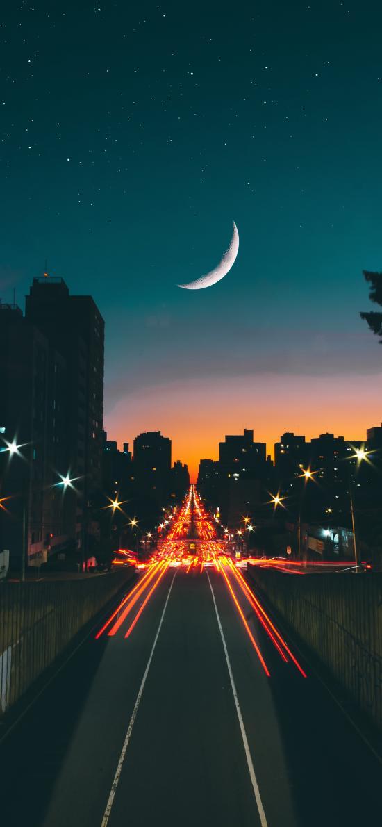 夜晚 月亮 城市 道路