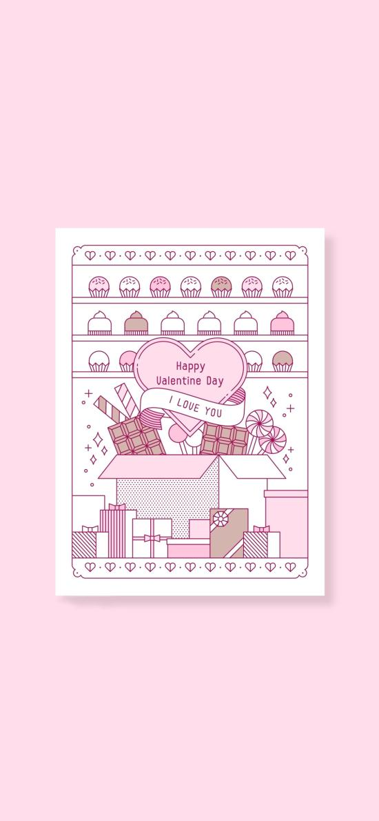 粉色背景 爱心 纸杯蛋糕 礼物