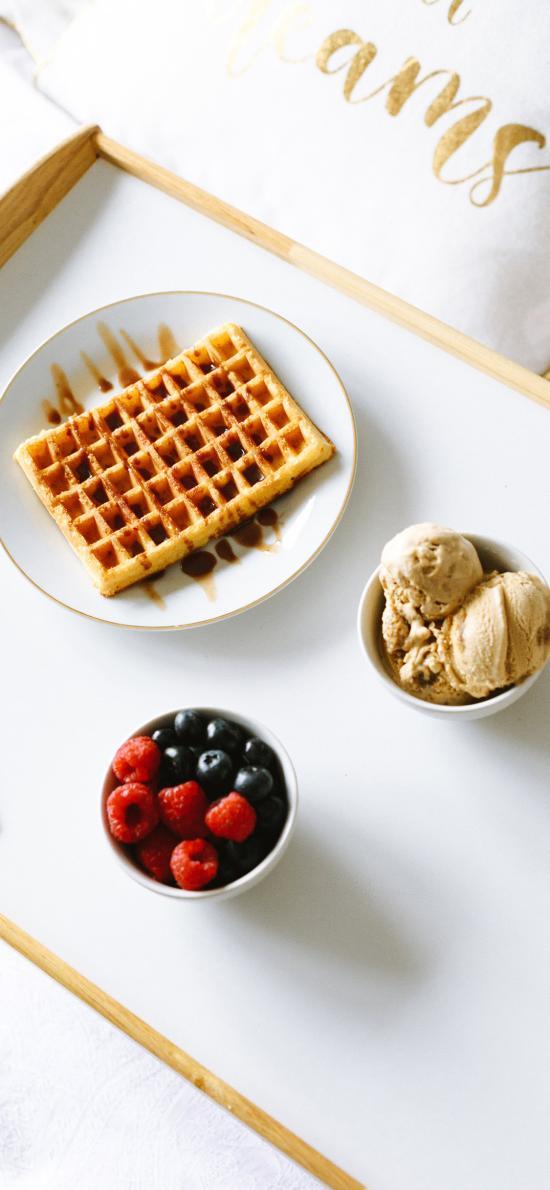 甜品 水果 蔓越莓 冰淇淋 华夫饼
