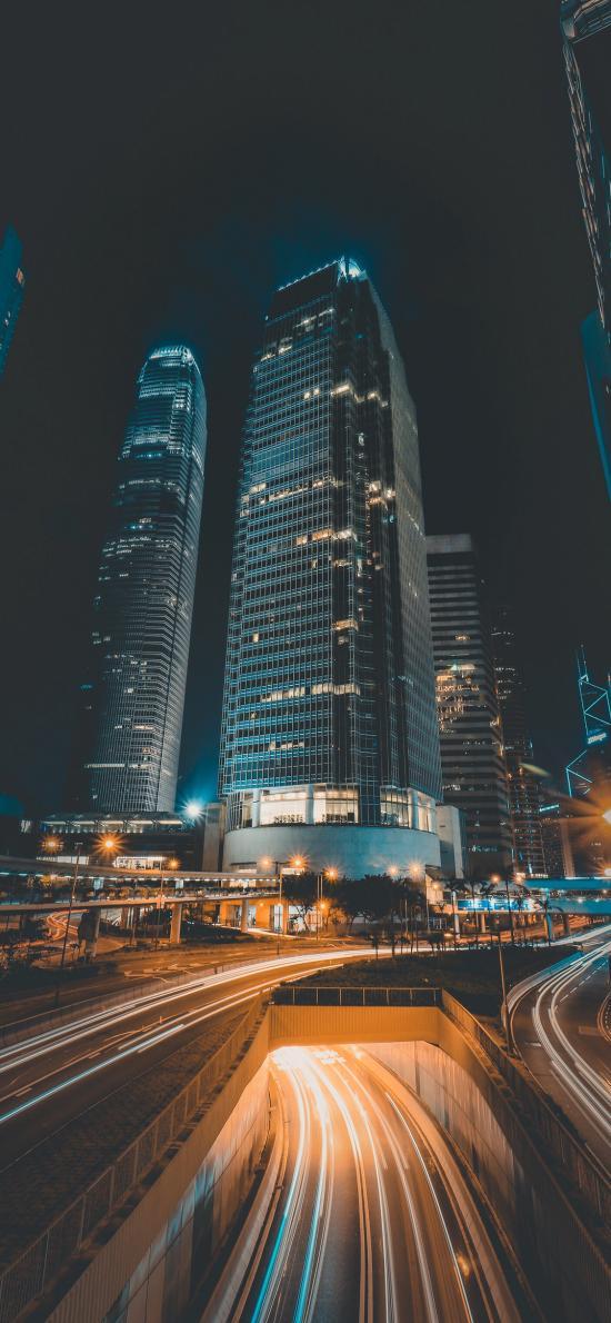 城市 建筑 夜晚 马路 交通