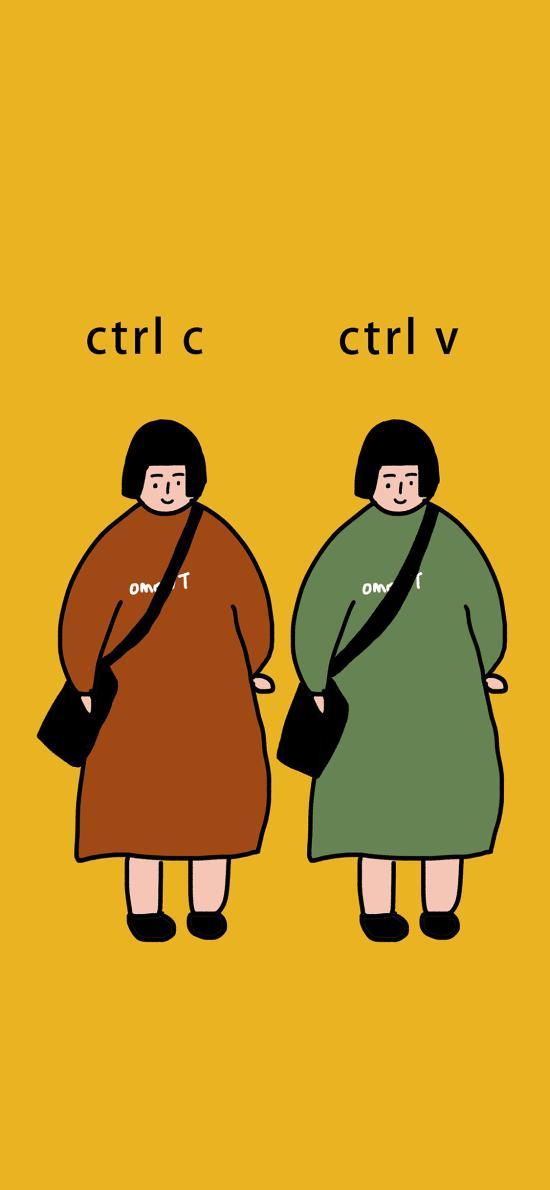 复制粘贴 Ctrl c 插画 女孩