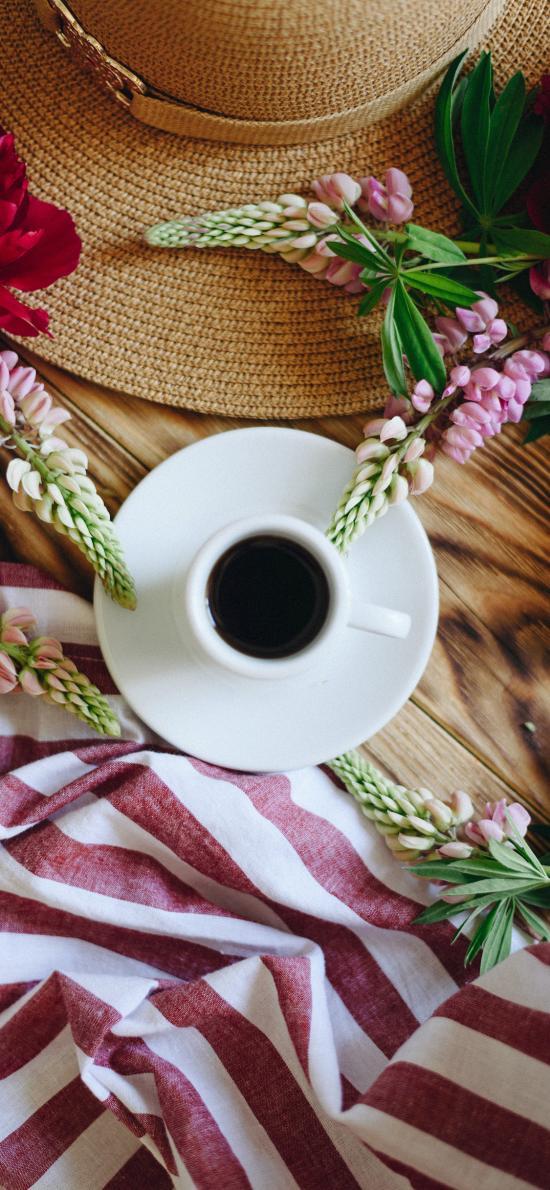 咖啡 杯具 鲜花 花穗 牡丹 静物