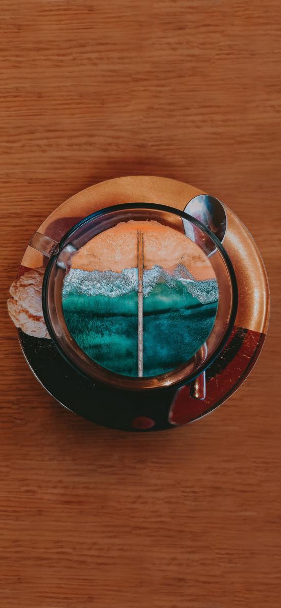 咖啡 大海 杯子 曲奇