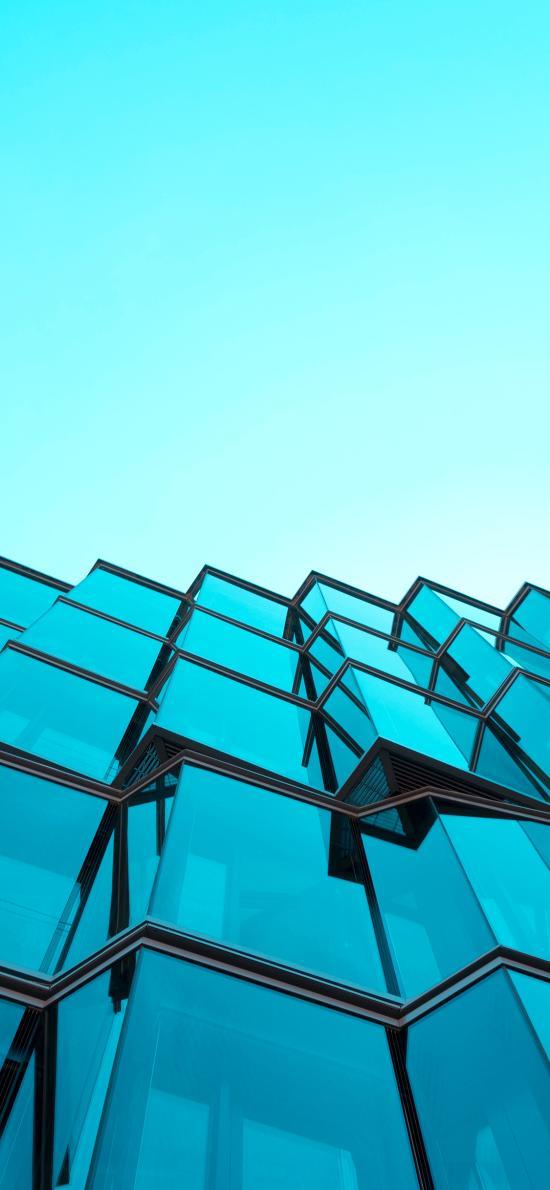 建筑 玻璃幕墙 蓝色 线条