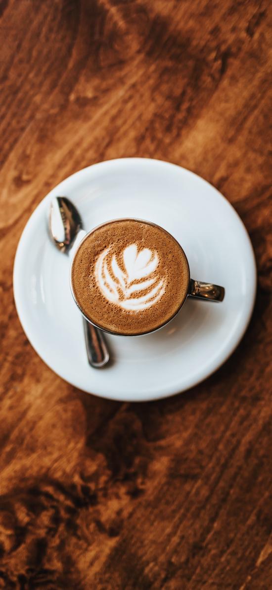 咖啡 摩卡 拉花 饮品 木桌