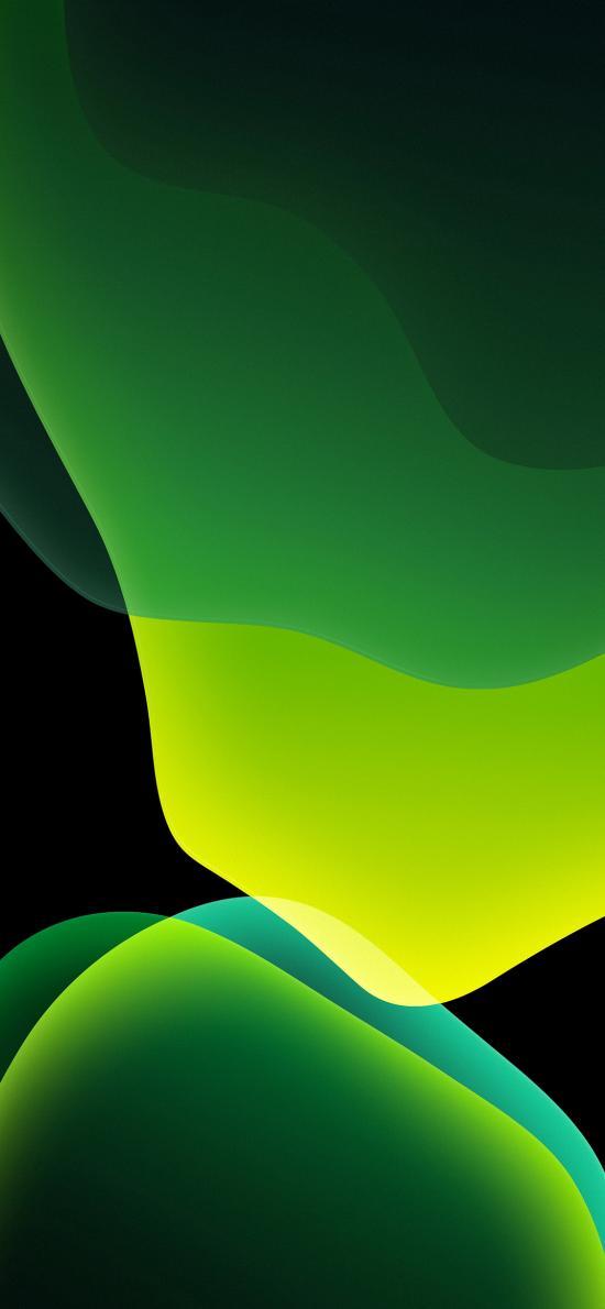 iOS13内置壁纸 流动 曲线 绿色 线条