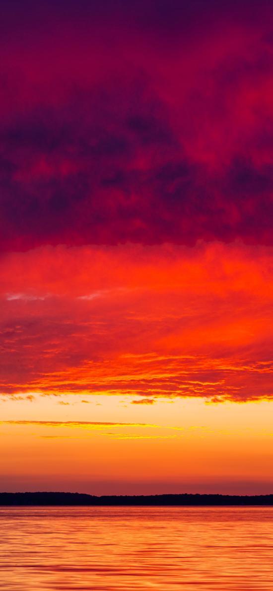 夕阳 海平面 云层 落日