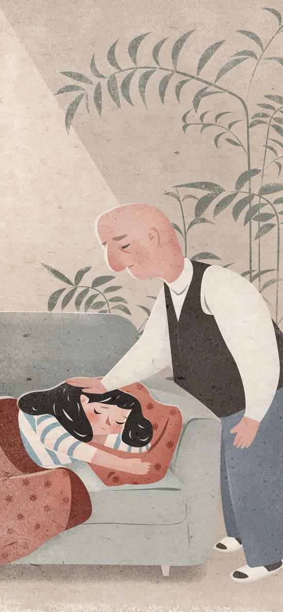 父亲节 父爱 父女 亲情 插画