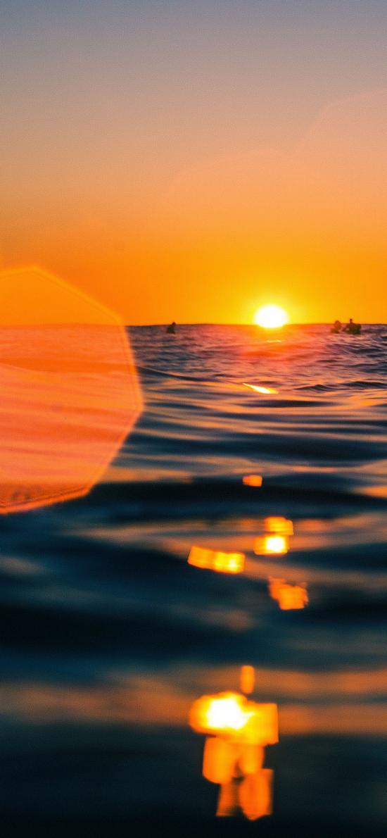 大海 水波 落日 唯美 夕阳