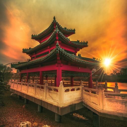 建筑 夕阳 庭院 廊坊 中国古风