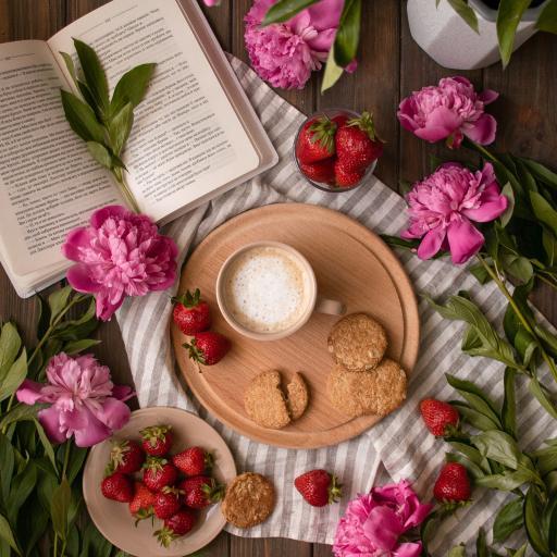 静物 饼干 草莓 鲜花 牡丹 咖啡