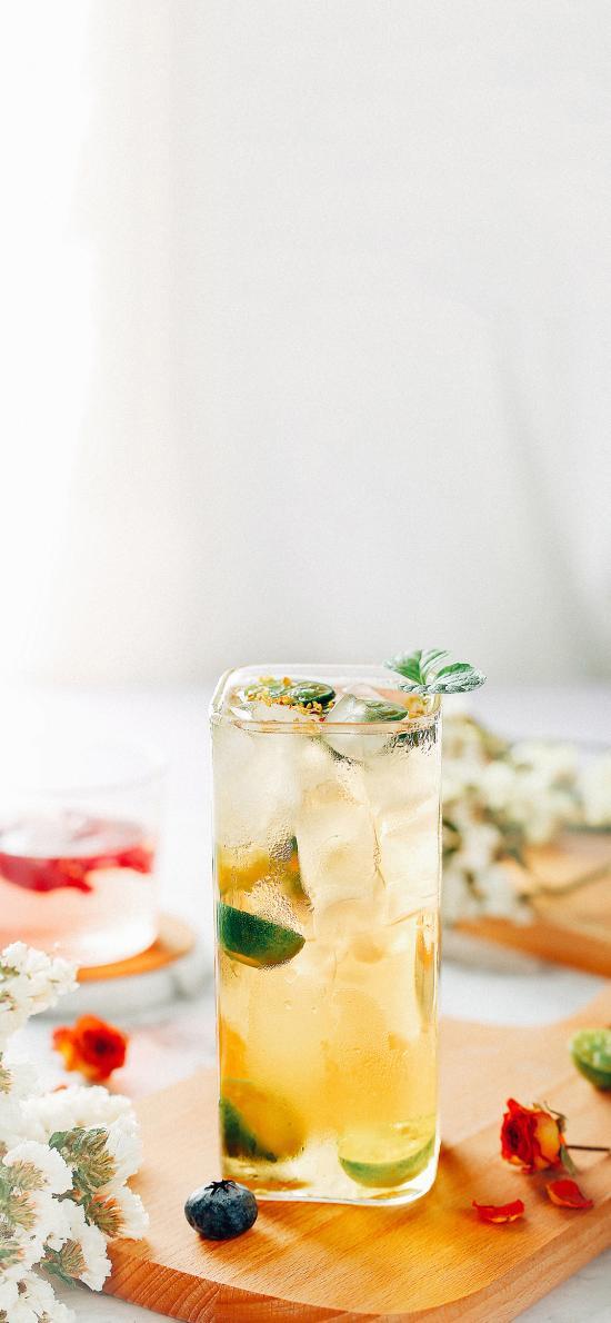 调制 饮品 冰块 金桔 蓝莓