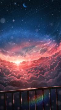 天空 云朵 栏杆 漫画 星空 浪漫