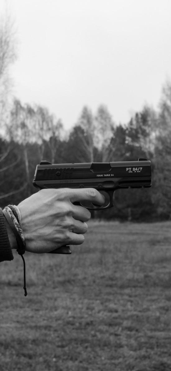 手枪 射击 武器 黑白