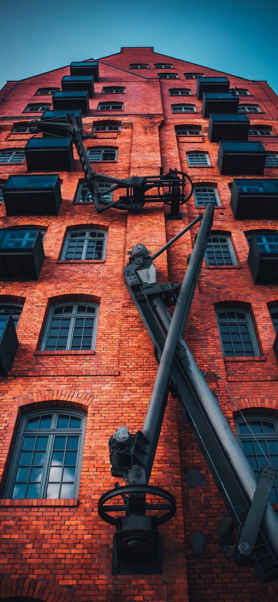 建筑 红砖墙 结构 房屋 楼梯