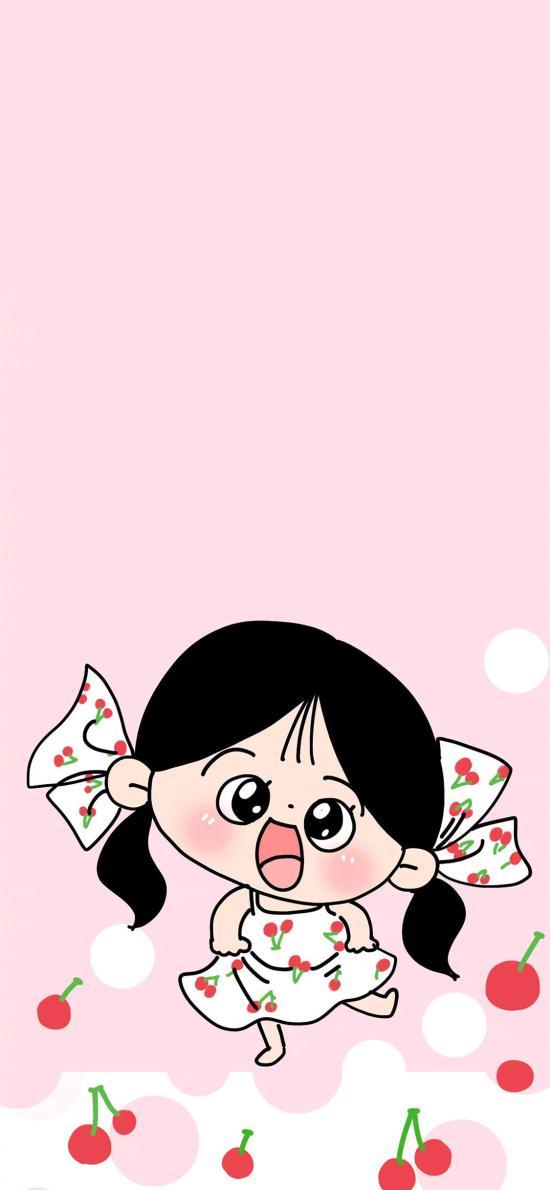 女孩 粉色 可爱 樱桃 裙子