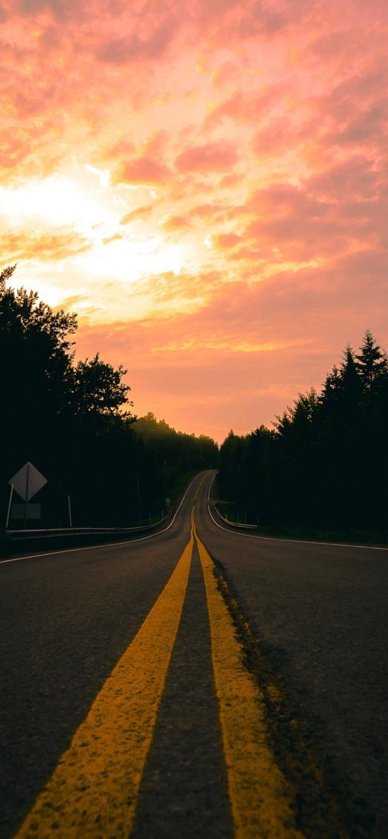 道路 夕阳 黄昏 马路