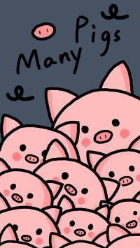 卡通 猪猪 many pigs 密集