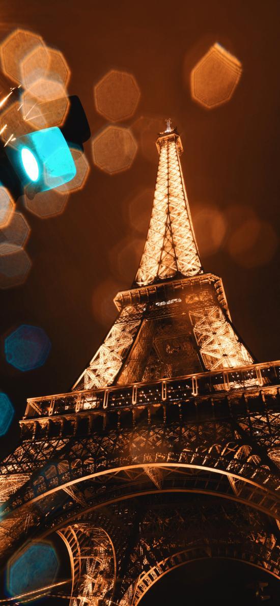 夜晚 灯光 地标 法国 埃菲尔铁塔