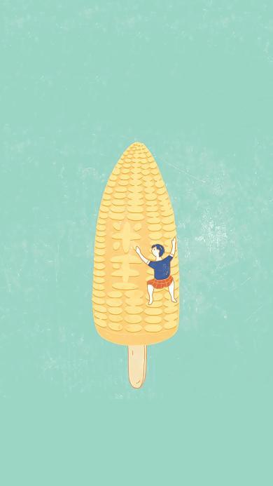 插画 玉米 冰棒 趣味