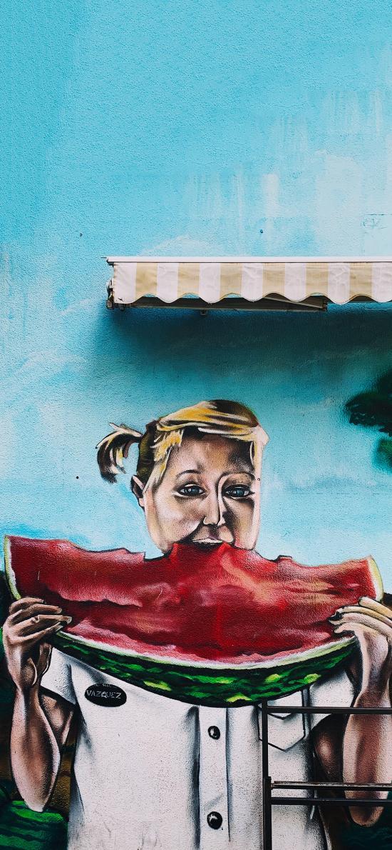 墙绘 女孩 吃西瓜 色彩 艺术